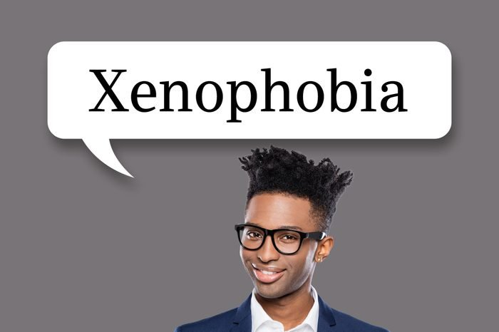 "man with speech bubble ""xenophobia"""