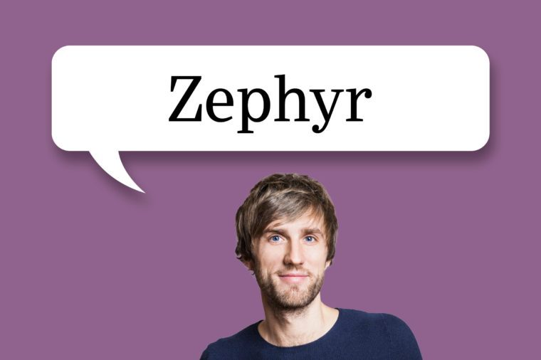 "man with speech bubble ""zephyr"""