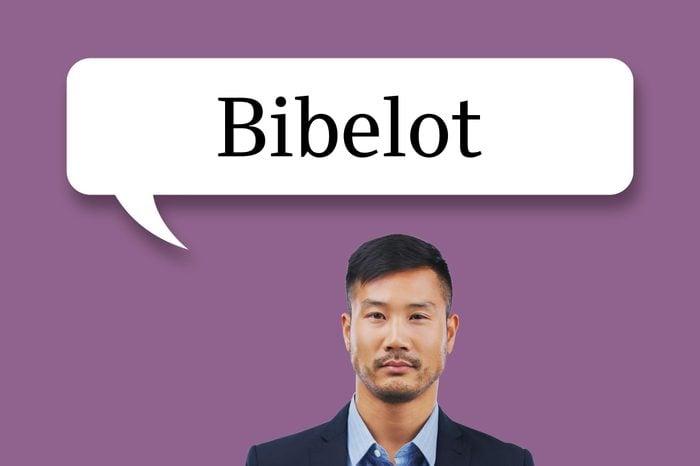"man with speech bubble ""bibelot"""