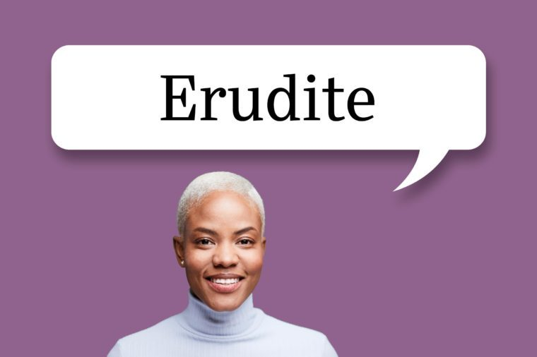 "woman with speech bubble ""erudite"""