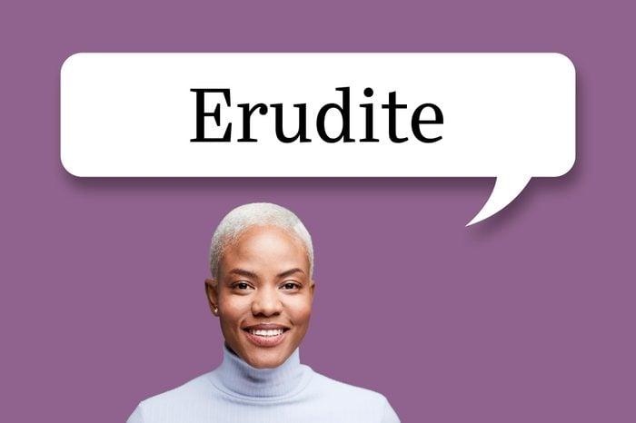 "woman with speech bubble ""erudite"""