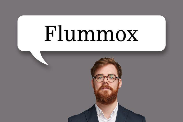 "man with speech bubble ""flummox"""