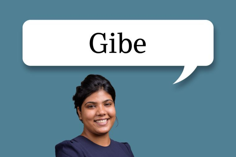"woman with speech bubble ""gibe"""