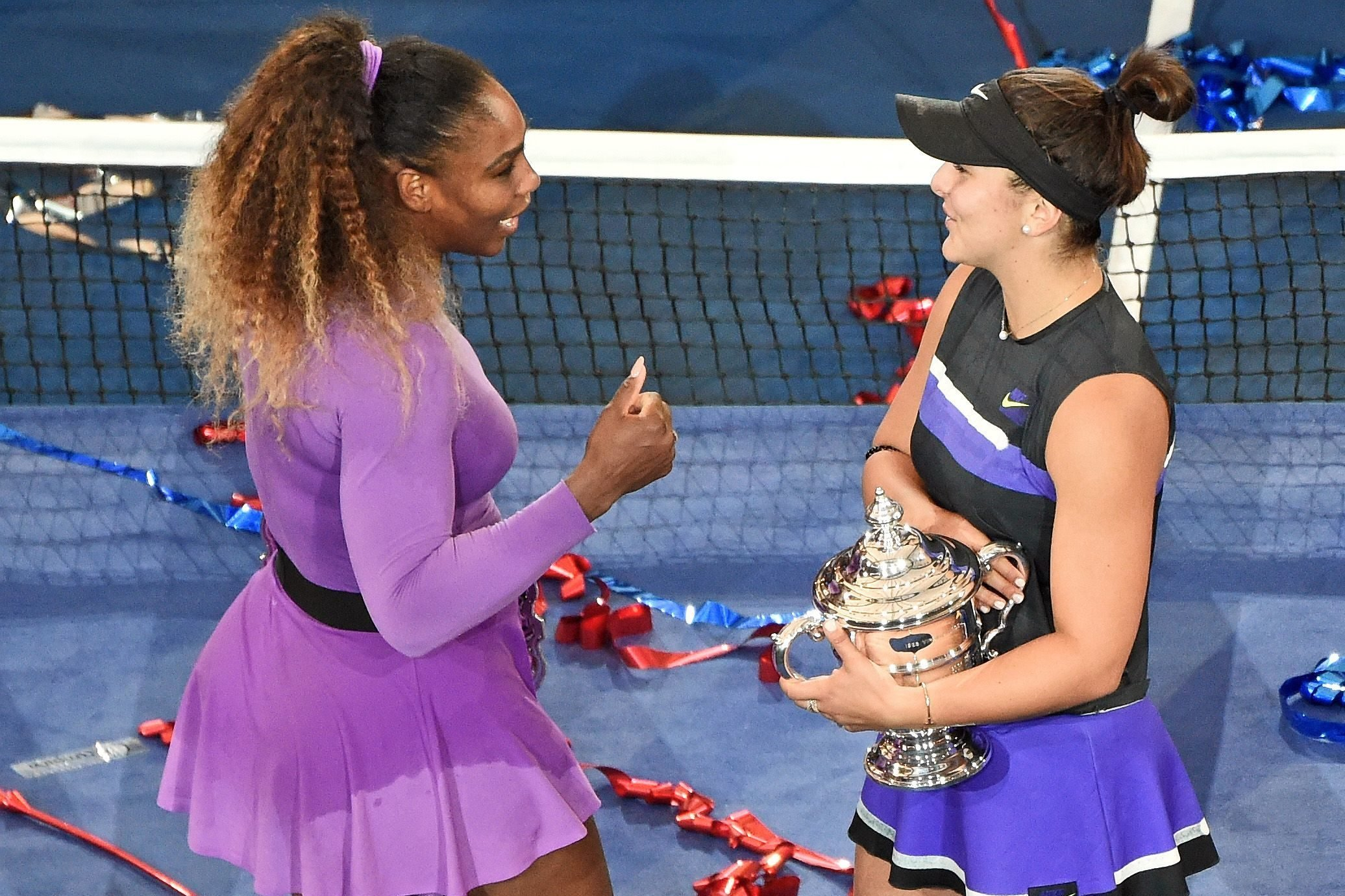 Editorial use only Mandatory Credit: Photo by Kommersant Photo Agency/Shutterstock (10515759x) Bianca Andreescu of Canada, right, during the trophy ceremony after the match with Serena Williams of United States, left. US Open Tennis Championships, Day 14, USTA National Tennis Center, Flushing Meadows, New York, USA - 08 Sep 2019