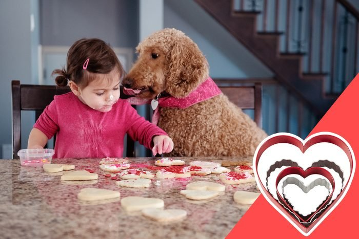 young girl baking on valentine's day