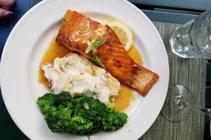 salmon, potatoes and broccoli at The Inn & Spa at Cedar Falls