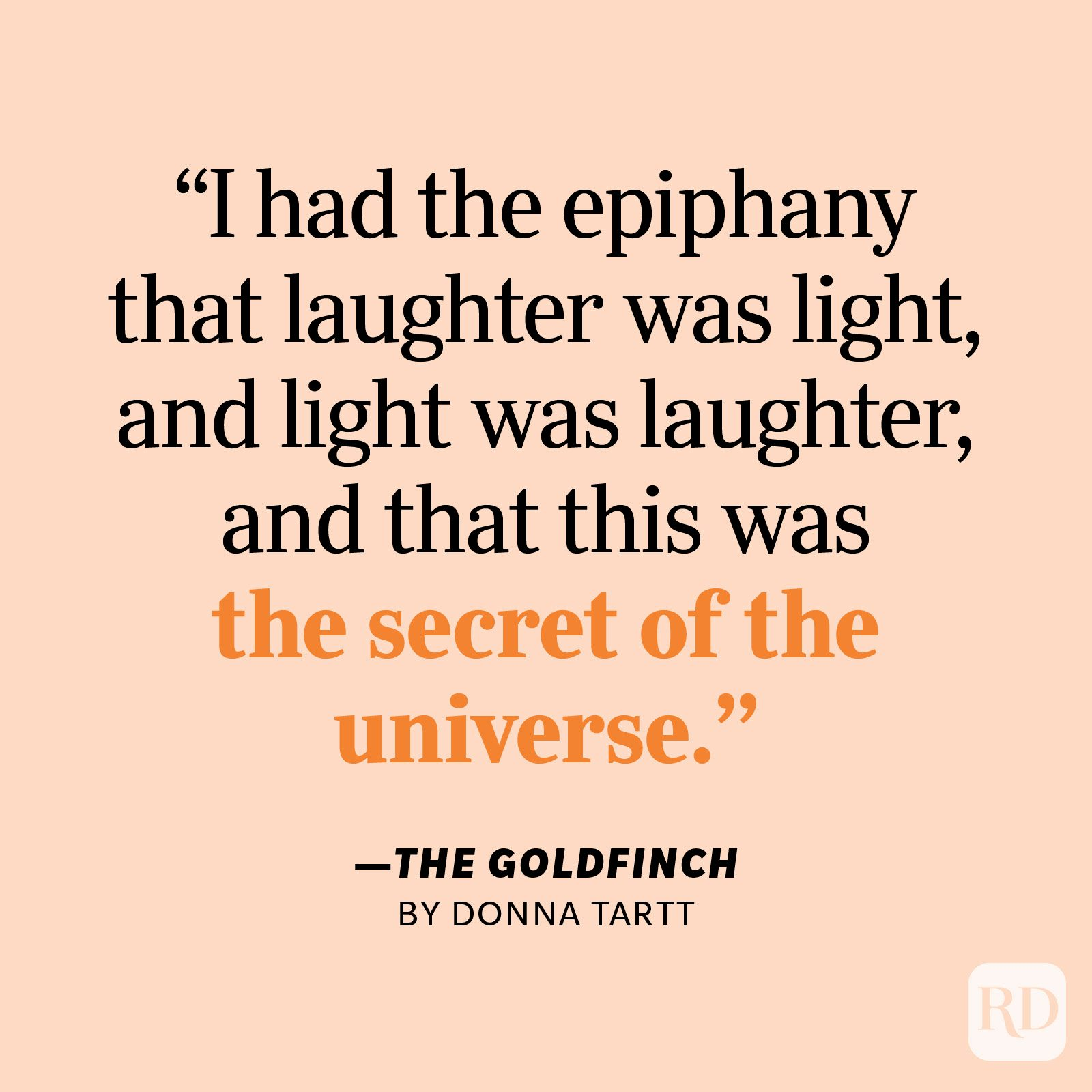 """The Goldfinch by Donna Tartt """"I had the epiphany that laughter was light, and light was laughter, and that this was the secret of the universe."""""""