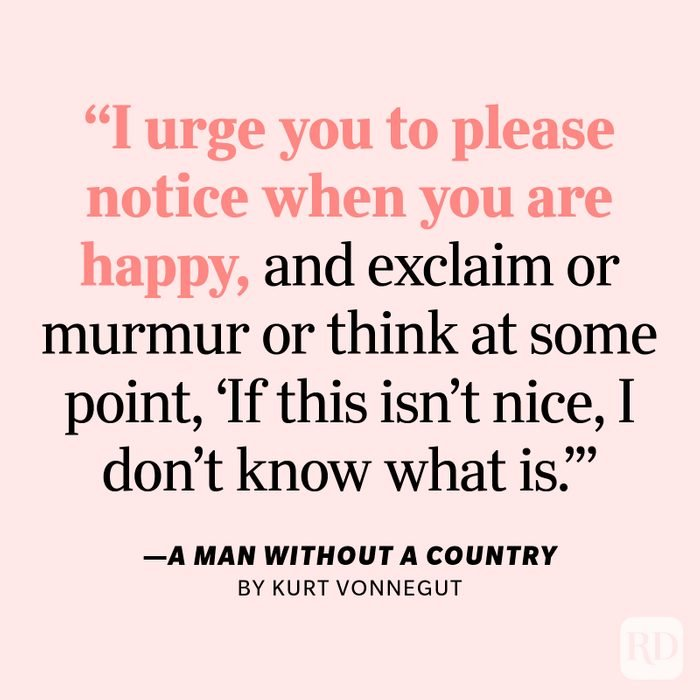 """A Man Without a Country by Kurt Vonnegut """"I urge you to please notice when you are happy, and exclaim or murmur or think at some point, 'If this isn't nice, I don't know what is.'"""""""