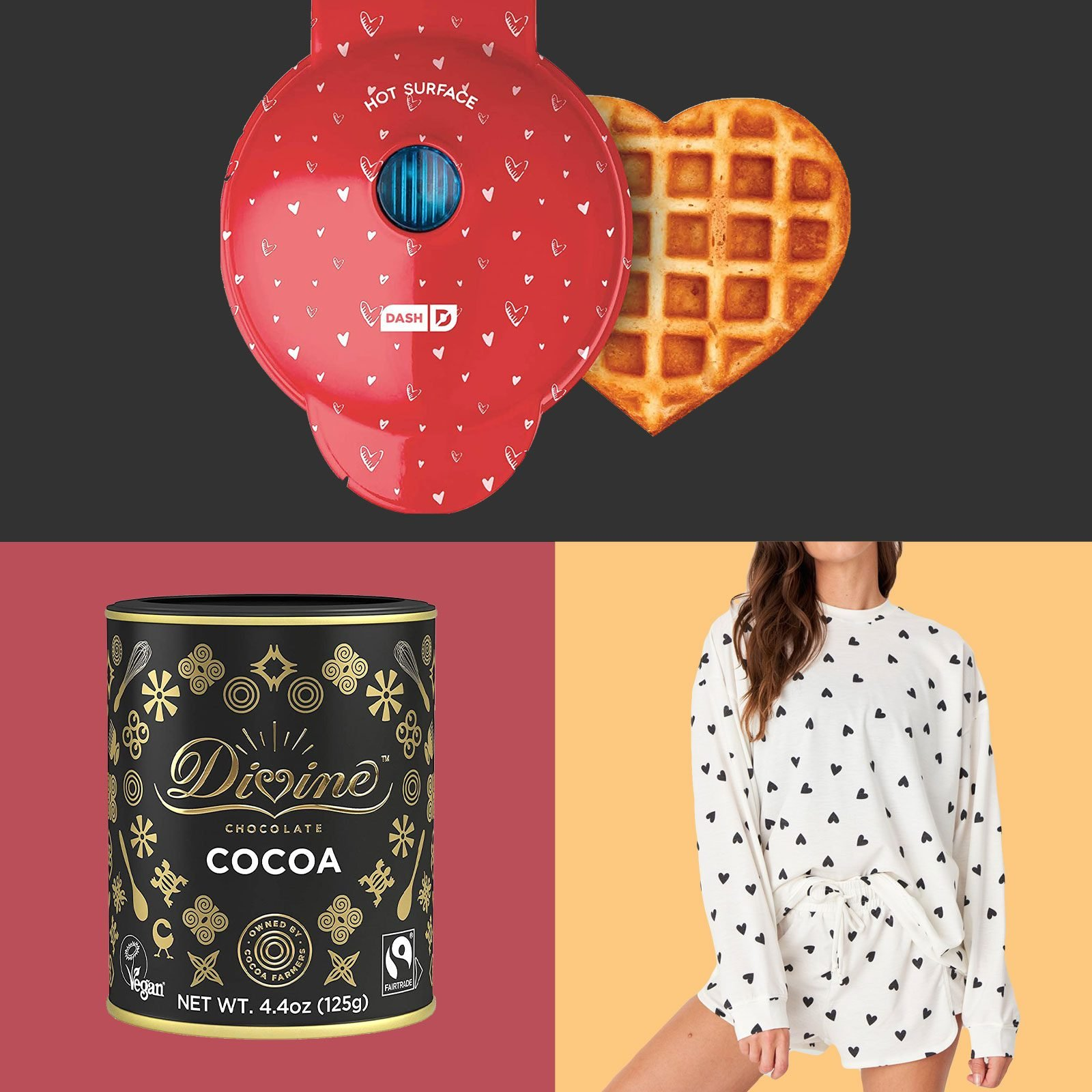 grid of three gifts: heart-shaped waffle iron, hot chocolate mix, and heart pajamas