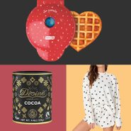 grid of three gifts: heart-shaped waffle iron, hot chocolate mix, and heart pajamas