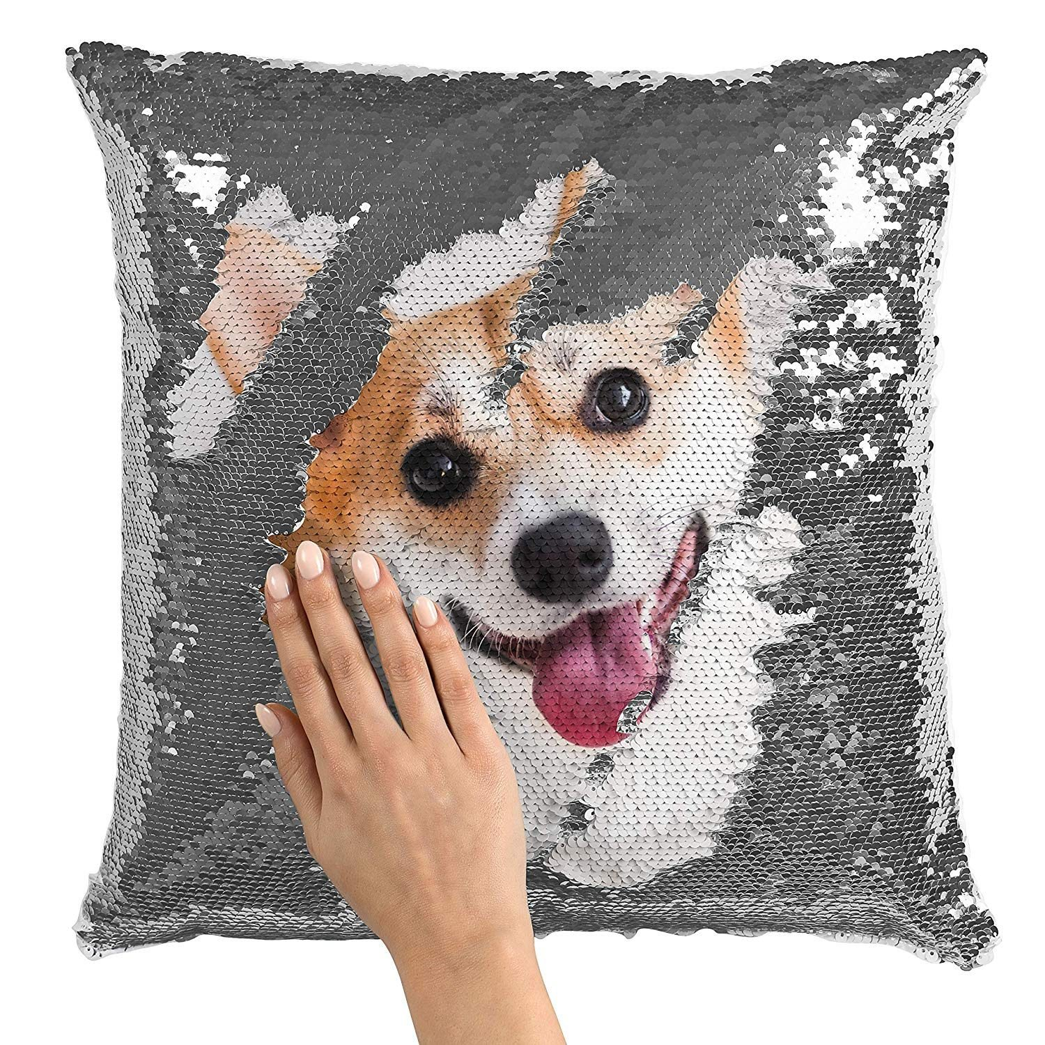 sequin dog pillow