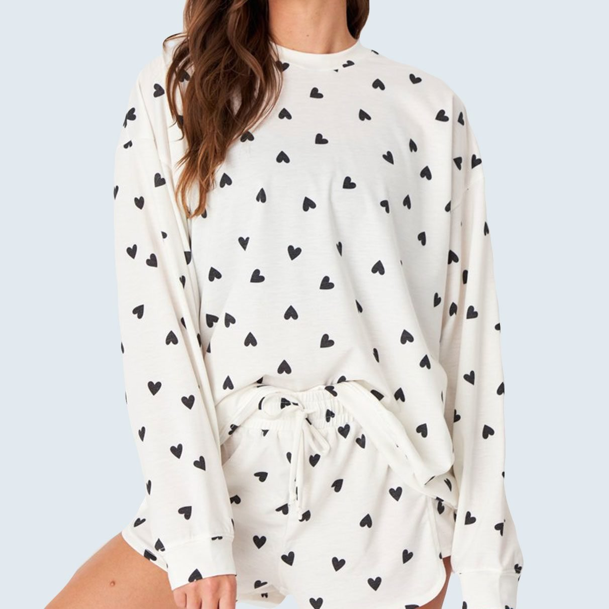 For lounging at home: Onzie Boyfriend Sweatshirt with Black Hearts