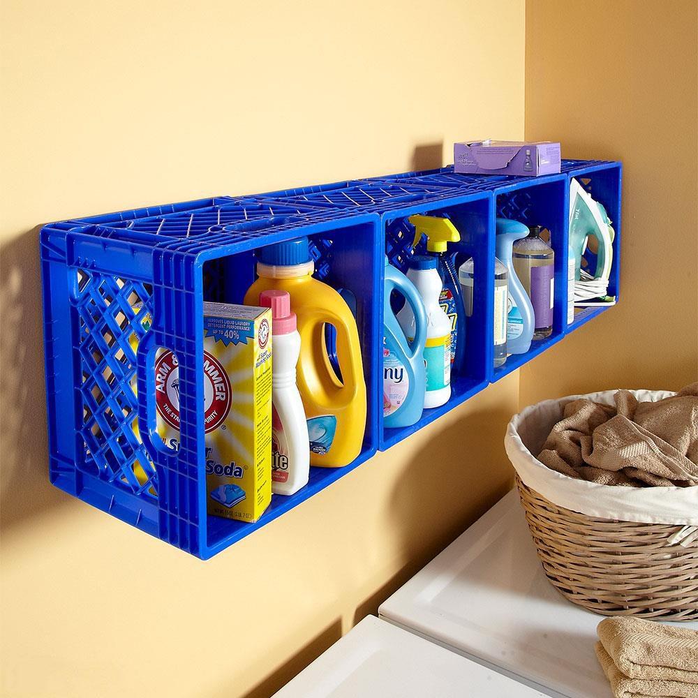 milk crates laundry storage