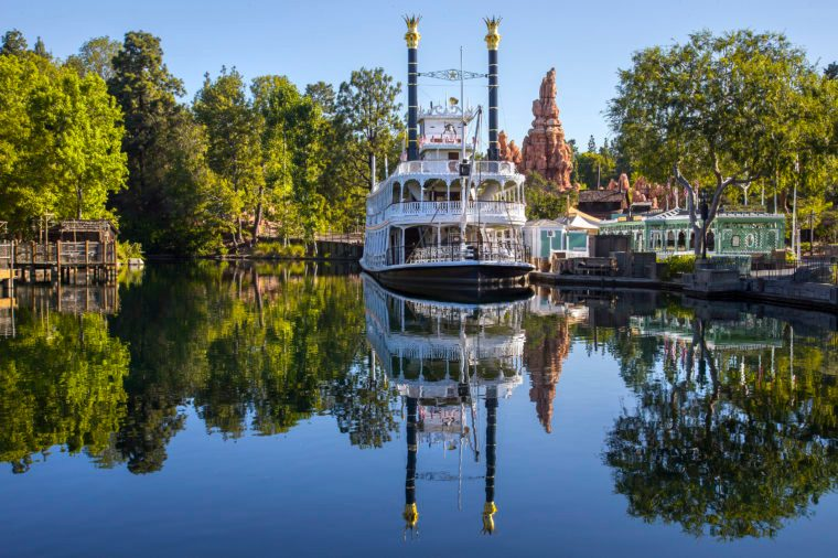 the Rivers of America in Frontierland at Disneyland Park The Mark Twain Riverboat