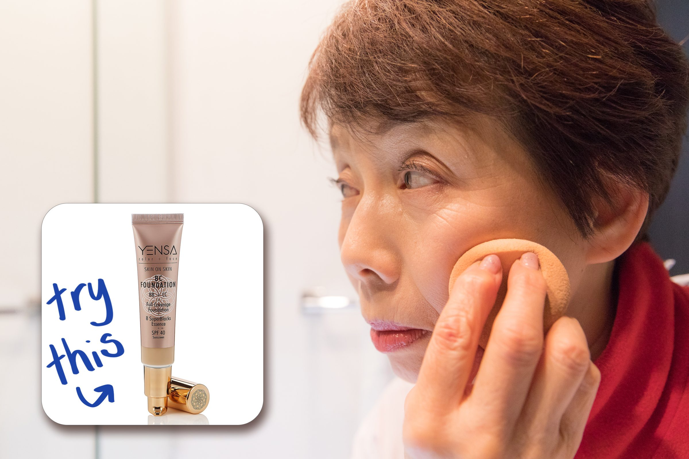 woman applying foundation make up with inset of foundation