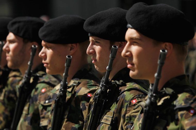 swiss army soldiers invade