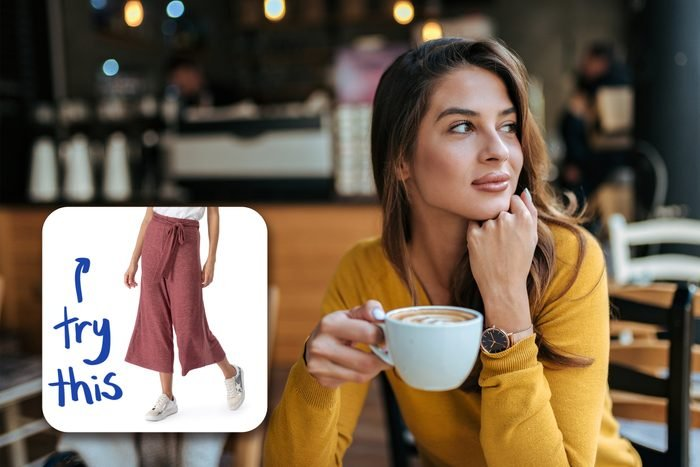 woman having coffee with inset of comfy pants to buy