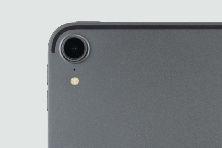 close up of ipad camera lens and volume buttons