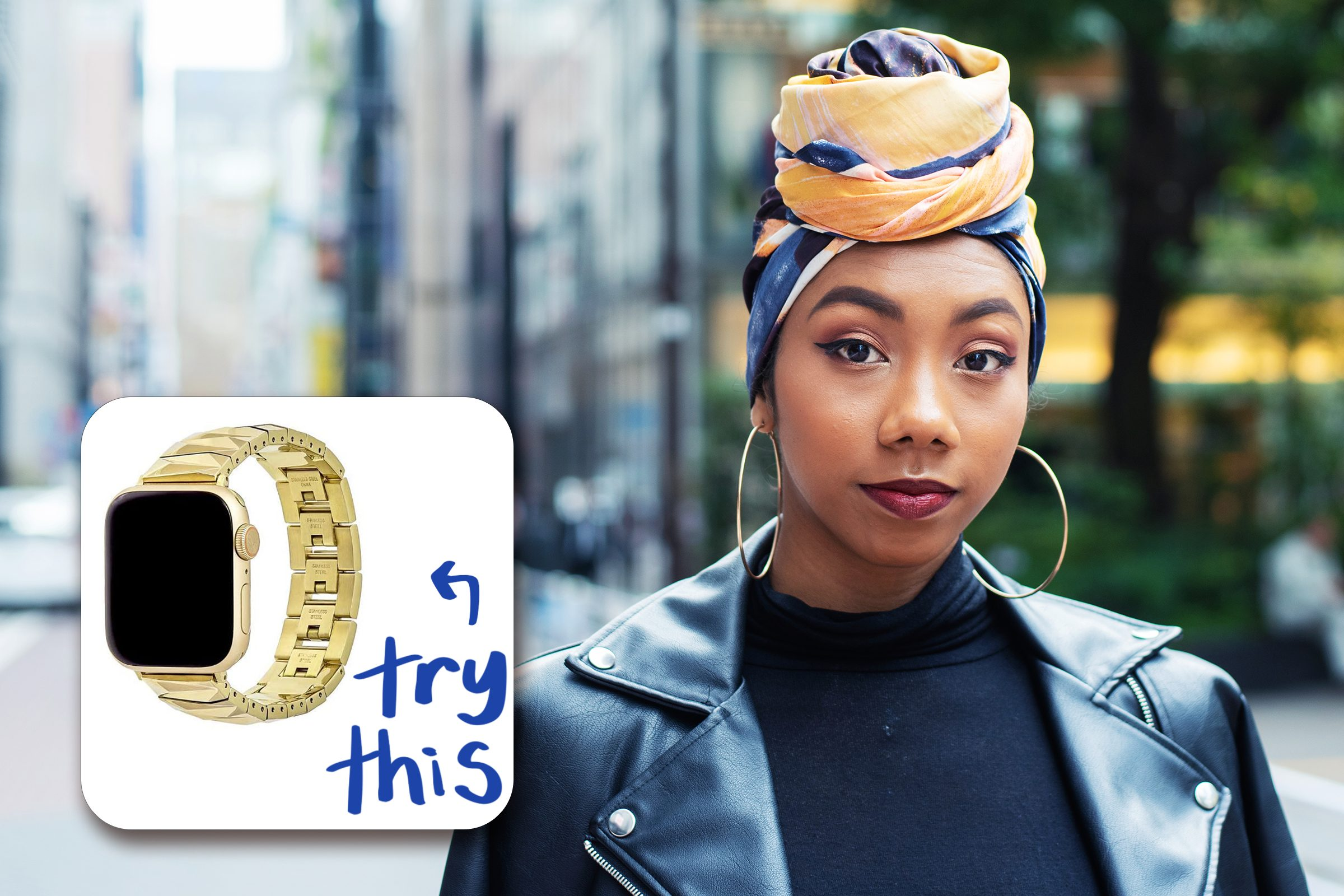 Street Portrait Of Beautiful Woman with inset of gold band for apple watch