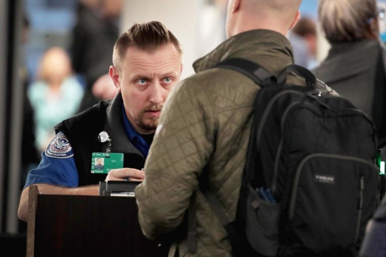 A Transportation Security Administration (TSA) worker screens passengers and airport employees at O'Hare International Airport on January 07, 2019 in Chicago, Illinois.