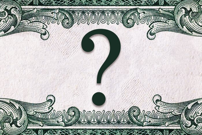 question mark with money texture background and frame
