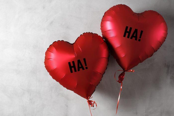 ha ha heart balloons