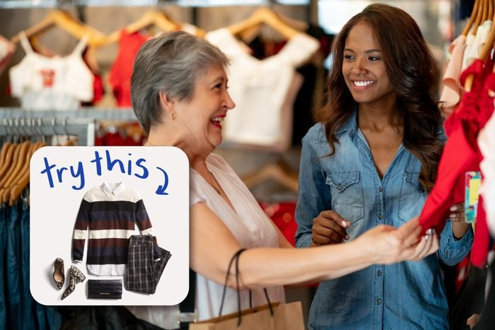 Black Saleswoman Helping A Senior Customer at clothes store, with inset of outfit to buy