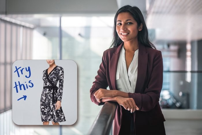 Businesswoman smiling in the office with inset of dress to buy