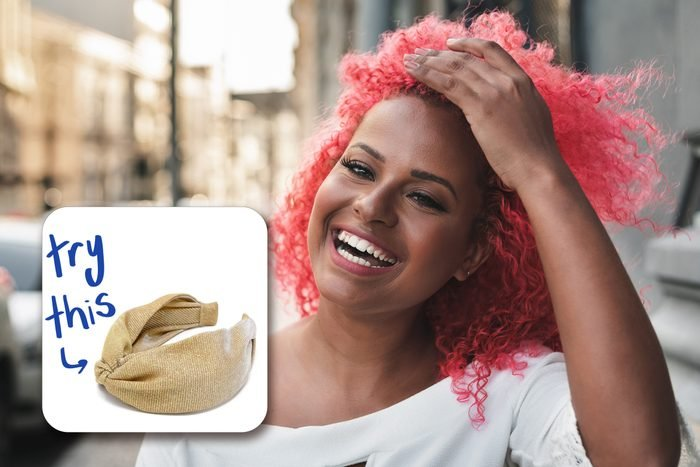 happy woman with red hair, with inset of headband to buy