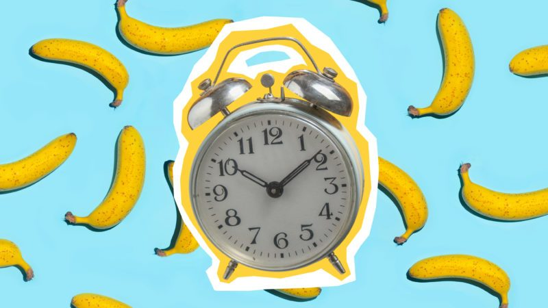 Zine style, pop art design. Creative collage with retro style alarm and bananas