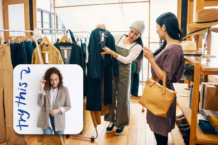 women shopping with inset of blazer to buy