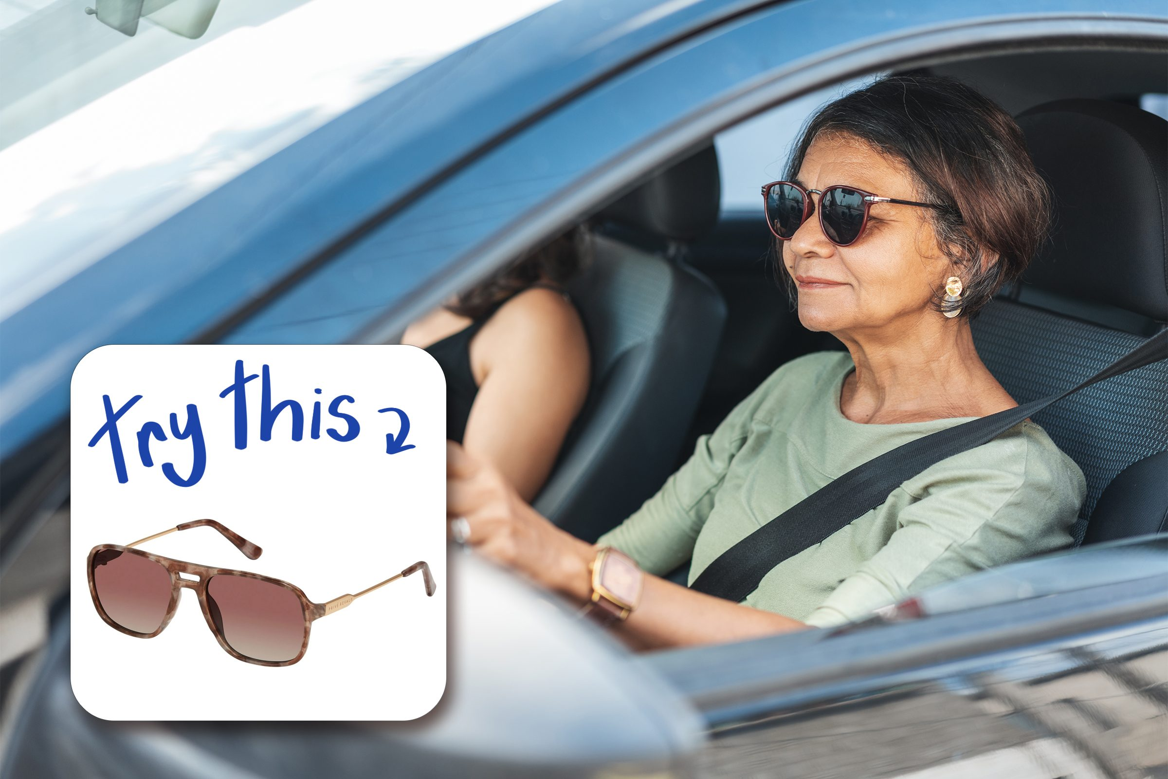 Mature Woman Driving A Car with inset of sunglasses to buy