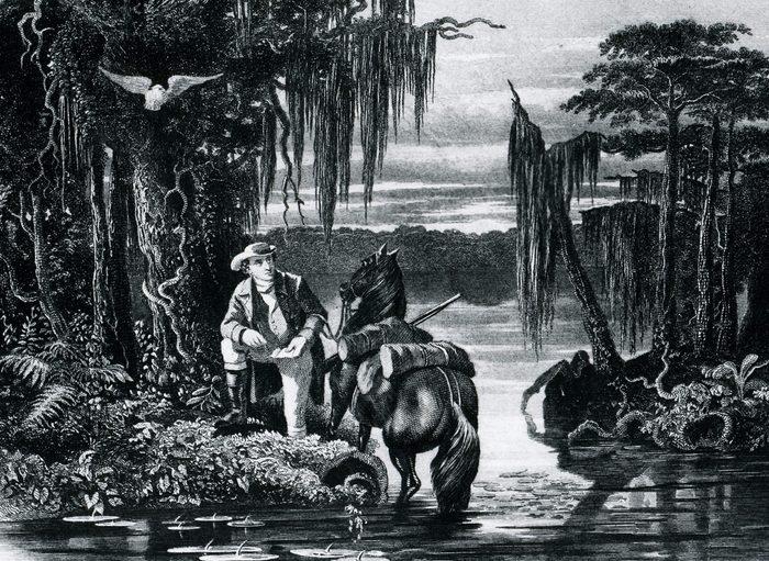 Illustration shows George Washington exploring and surveying Lake Drummond