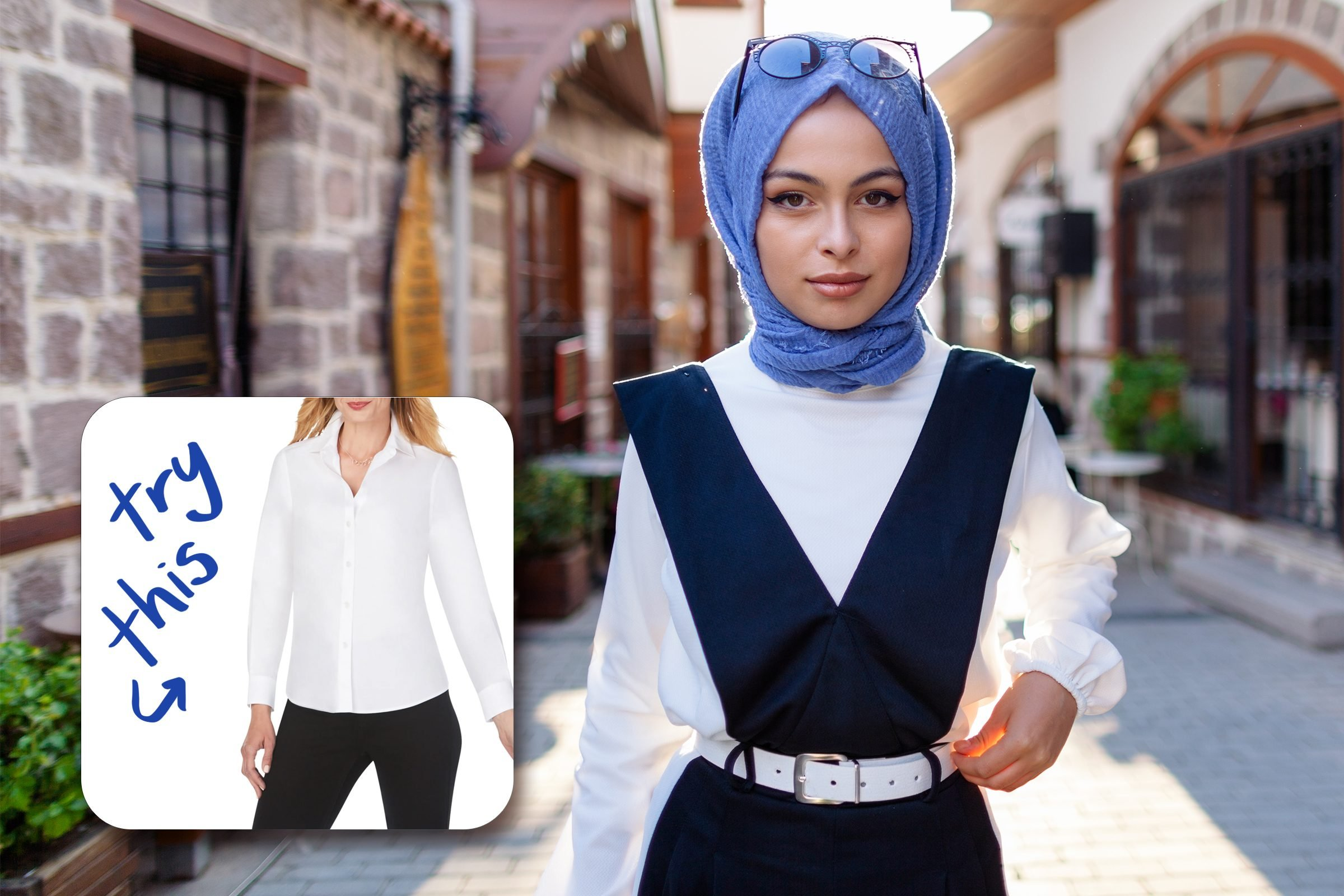 beautiful woman on the street with inset of white blouse to buy