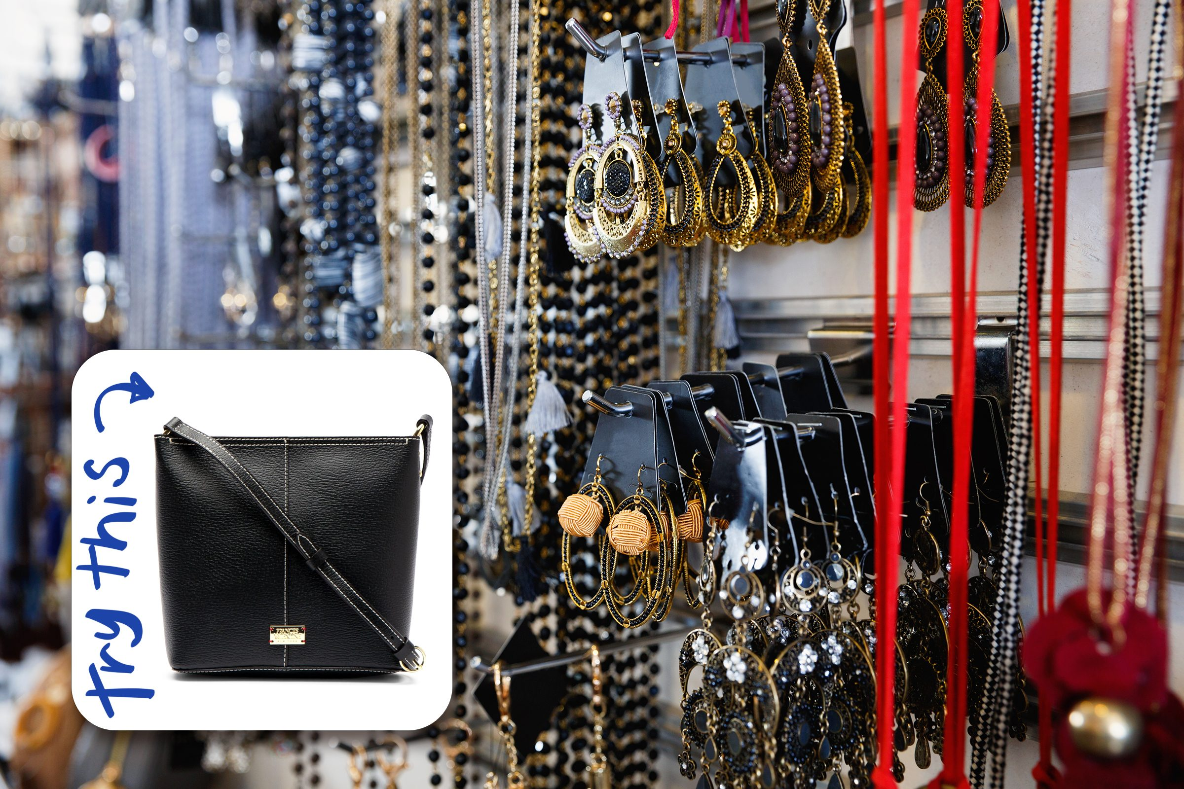 jewelry hanging in store with inset of a bag to buy