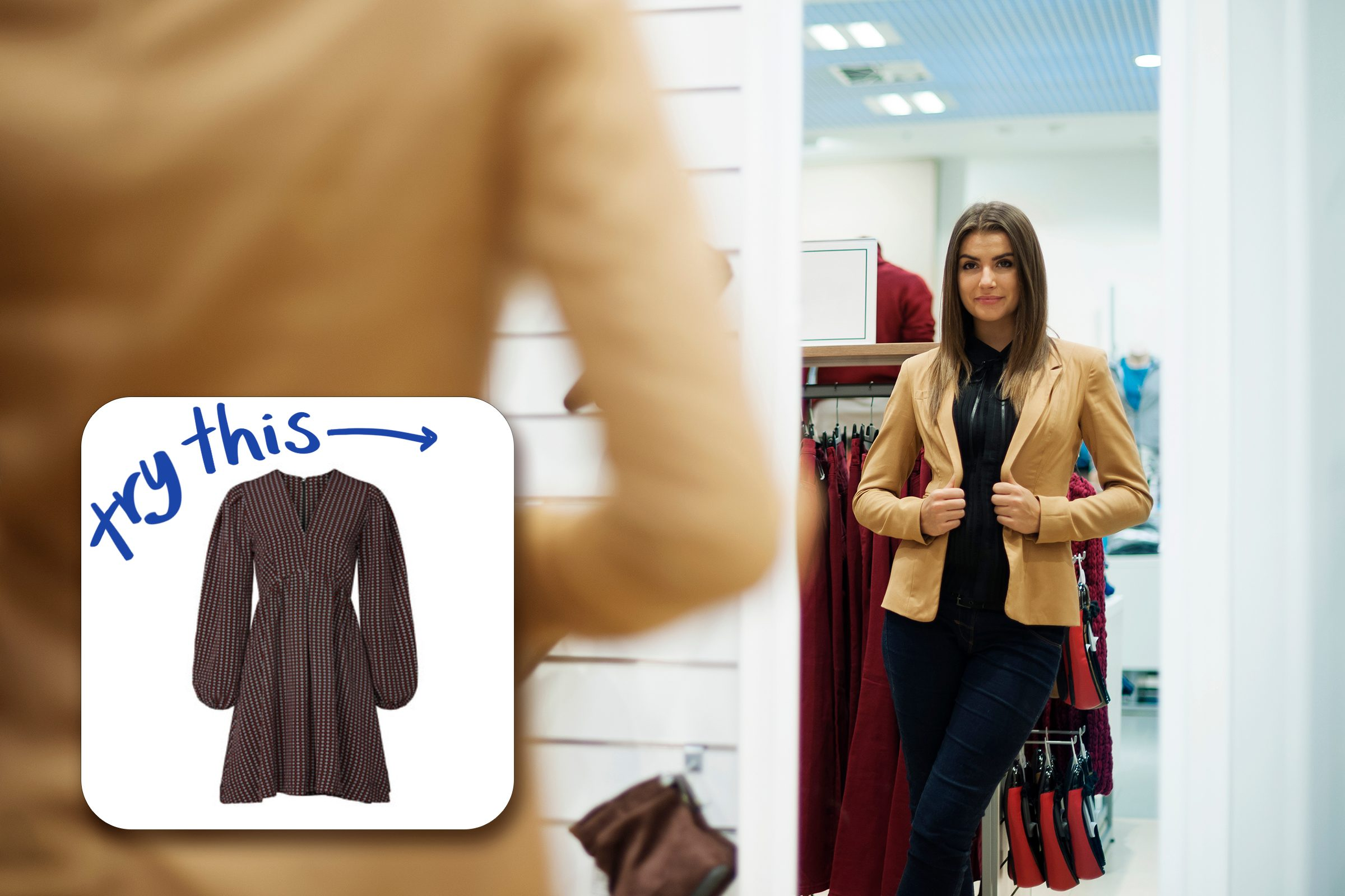 woman trying on jacket with inset of dress