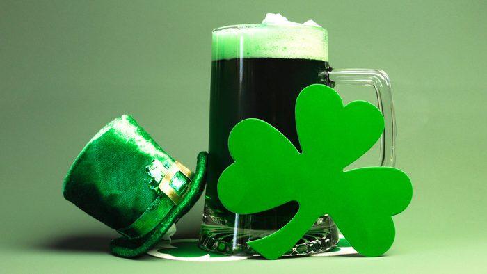St Patrick's Day green beer, shamrock and leprechaun hat