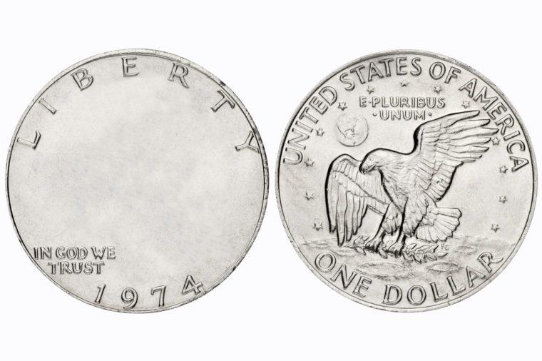 one dollar coin. no face.