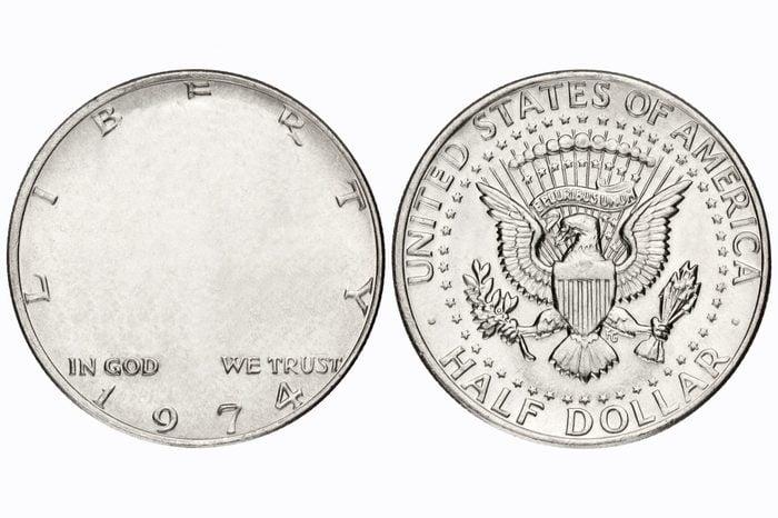half dollar coin. no face.