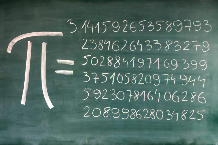 hand-written Pi numbers on green chalkboard.
