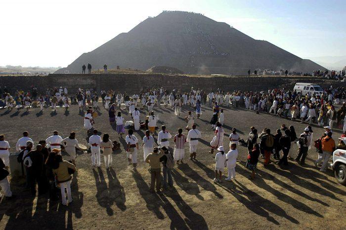 mexico Pyramid Of The Sun On Spring Equinox