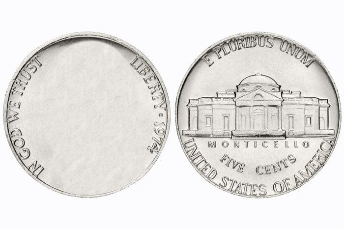 nickel coin. no face.