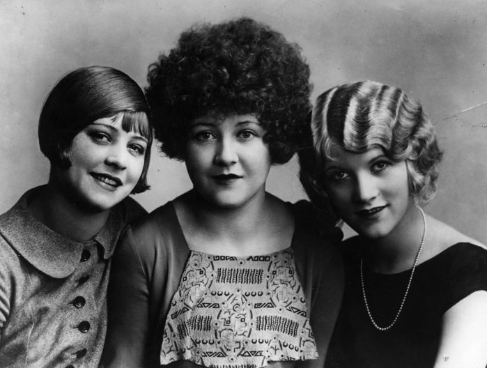 Three women with various hairstyles vintage fashion 1920s