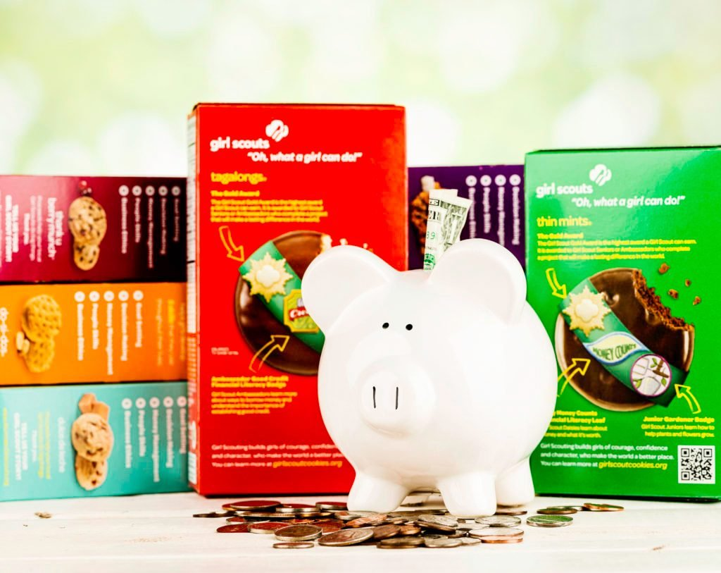 girl scout cookies piggy bank money