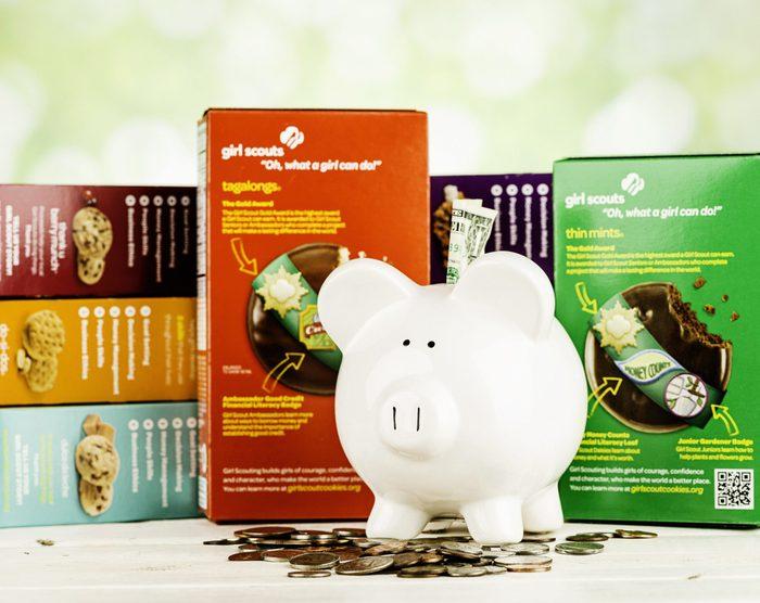 girl scout cookies piggy bank money