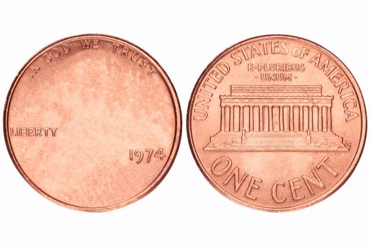 penny coin. no face.