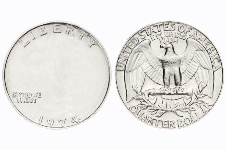 quarter coin. no face.