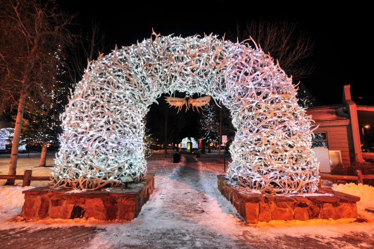Large elk antler arches curve over Jackson Hole entrance most romantic towns