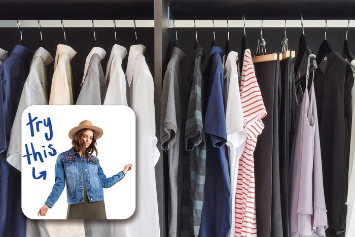 closet filled with clothes with inset of woman in denim jacket