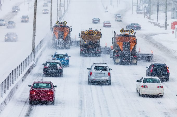 snow plows and cars